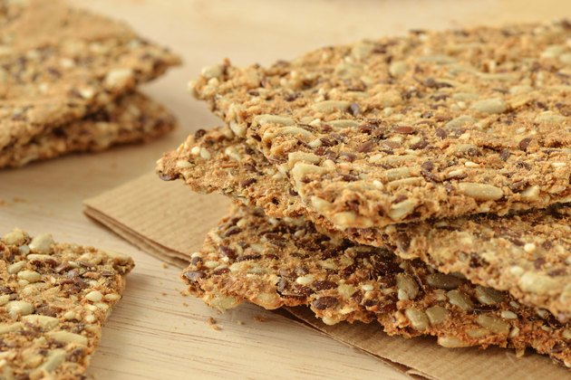 Crispy flatbread cracker with flax, sunflower and sesame seeds