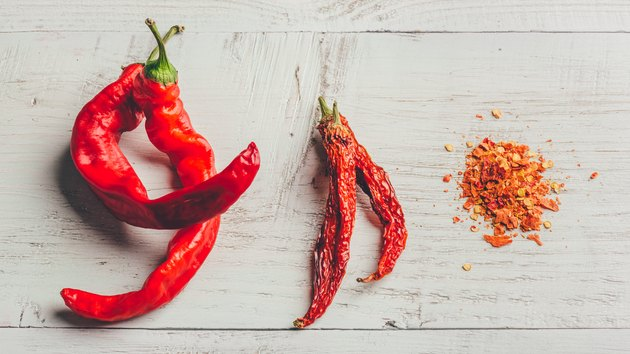 Fresh, dried and crushed red chili pepper