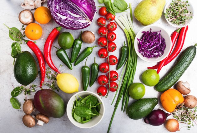 Selection of fresh vegetables and fruits