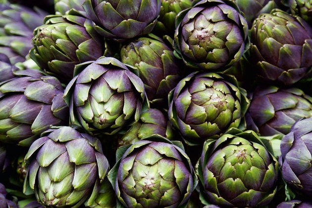 full frame of purple italian artichokes