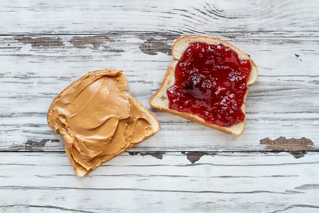 Open Peanut Butter and Strawberry Jelly Sandwich