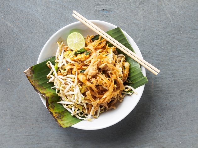 Top view pad thai of thai food noodles style