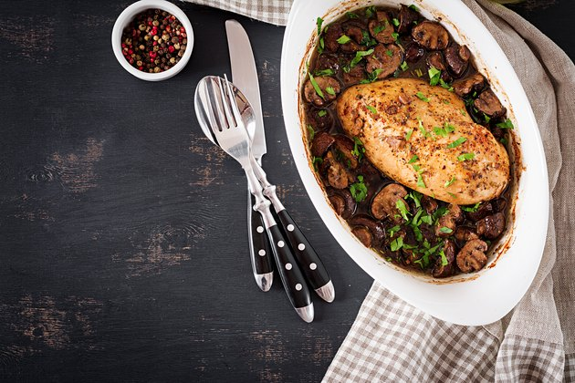 Baked chicken breast with mushrooms in balsamic  sauce  on the table. Top view