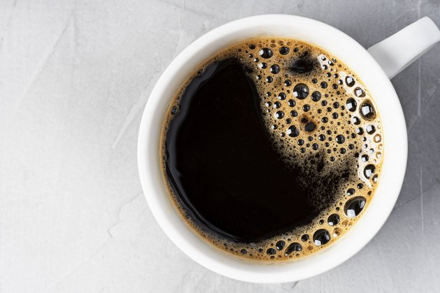 Black coffee drink close-up.