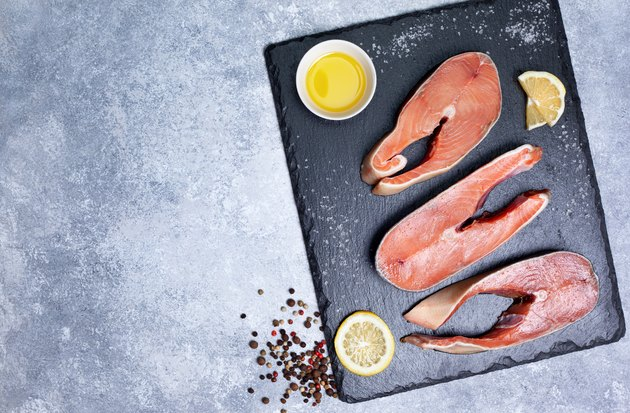 salmon steak raw