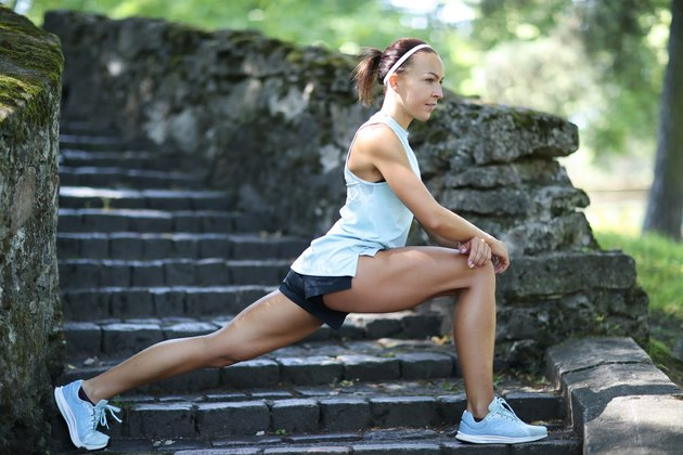 Woman doing a cross-training for runners workout