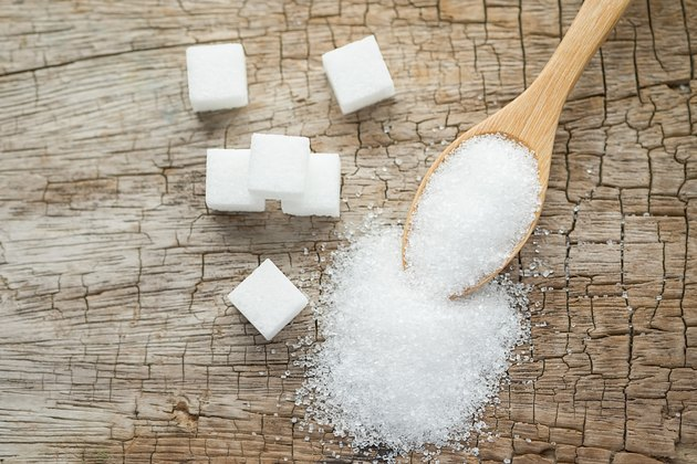 High Angle View Of Sugar Cubes On Table