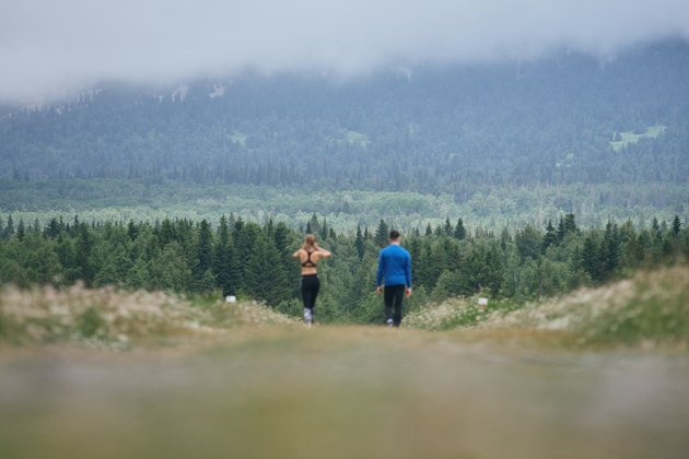 Man and woman jogging together outdoor