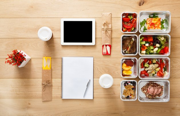 how to meal plan healthy food take away in boxes, top view at wood