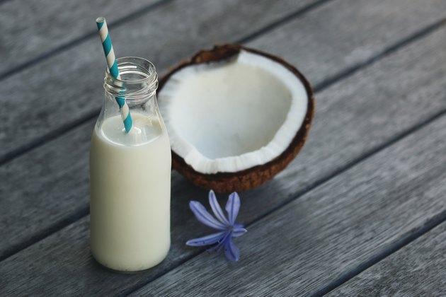 Coconut milk in a bottle