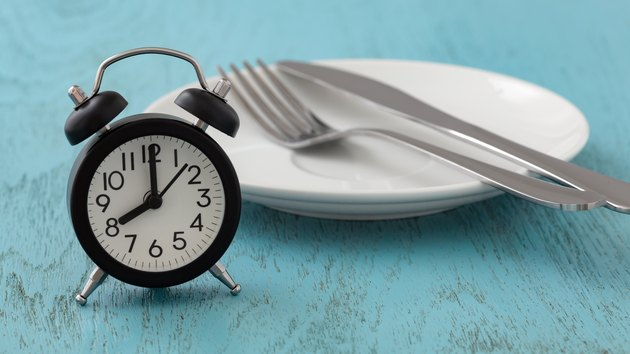 Intermittent fasting concept showing an alarm clock next to an empty plate with silverware on a blue wooden table