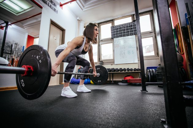 Woman weightlifting training