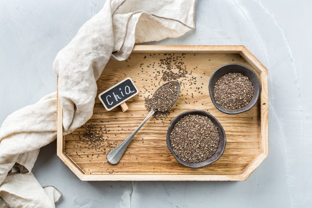 Organic healthy chia seeds in a bowl, vegan superfood concept