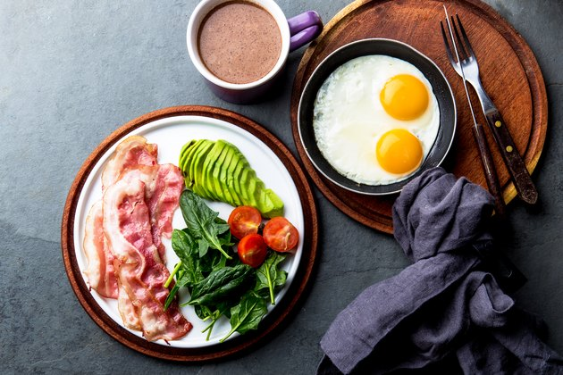 Ketogenic diet breakfast. fried egg, bacon and avocado, spinach and bulletproof coffee. Low carb high fat breakfast