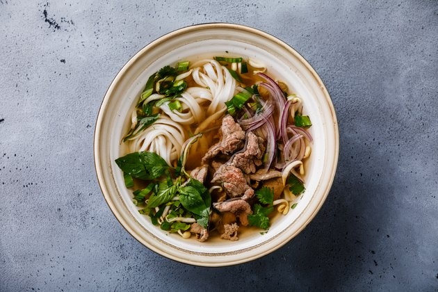 Pho Bo vietnamese Soup with beef in bowl