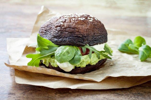 Grilled portobello bun mushroom burger.