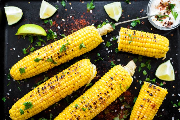 Grilled corn cobs in mexican style