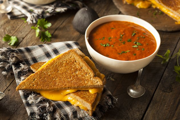 Homemade healthy comfort food Grilled Cheese with Tomato Soup
