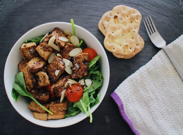 High angle view of salad with tempeh
