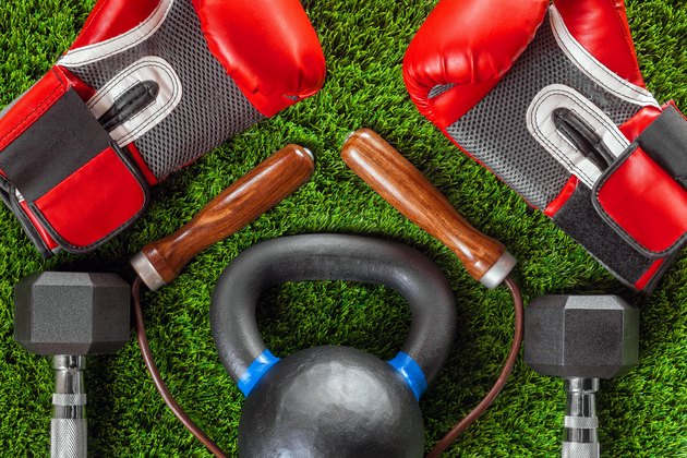 Boxing gloves, skipping rope, dumbbells