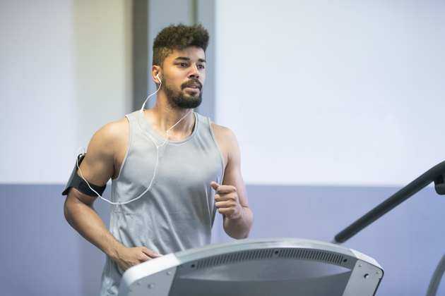 man doing cardio interval treadmill workout