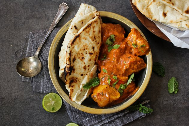 Butter Chicken served with homemade Indian Naan bread