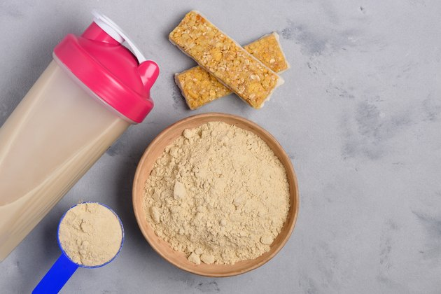 Protein bowl and shaker with grain snack bars