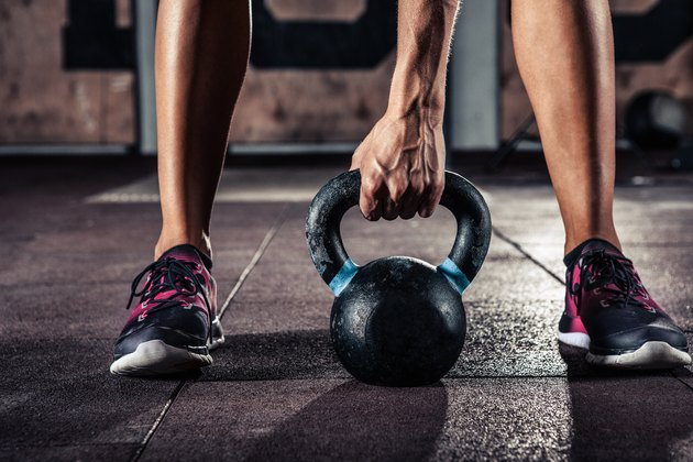 gym kettlebell training in gym