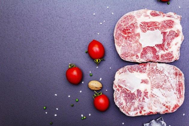 Frozen raw pork steak