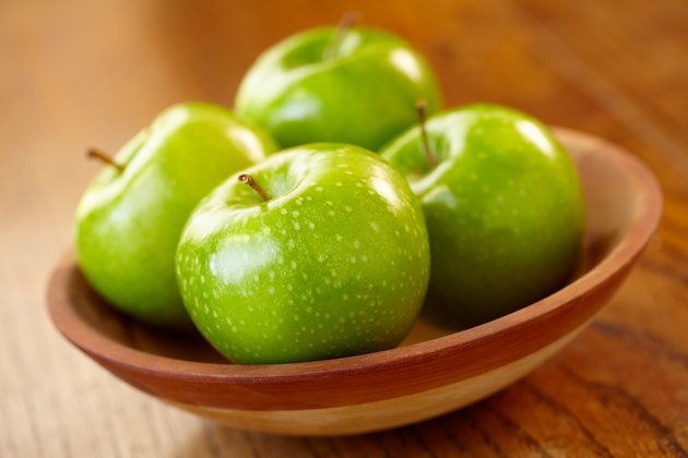 A bowl of green apples on a wooden table