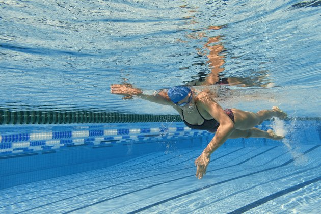 Underwater Shot of Young Women at Freestyle Swimming