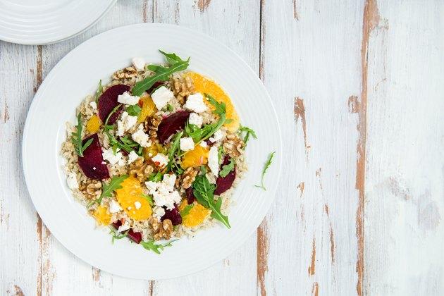 Warm Healthy brown rice, beetroot and orange salad