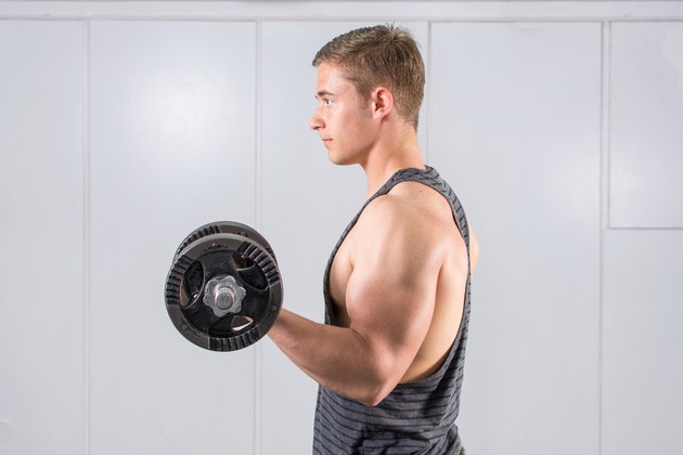 Man performing biceps workout