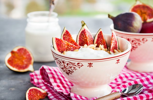 Breakfast with plain yogurt and figs
