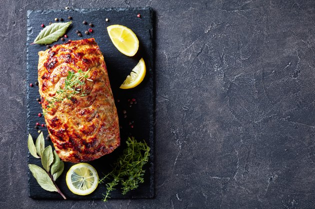baked turkey meatloaf on a slate tray