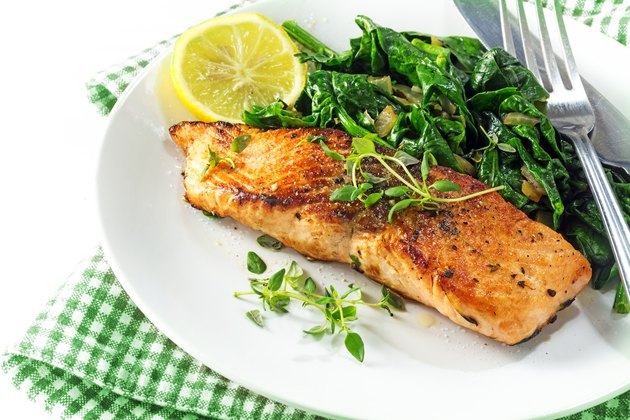 grilled salmon with thyme, lemon and spinach, vegetarian food