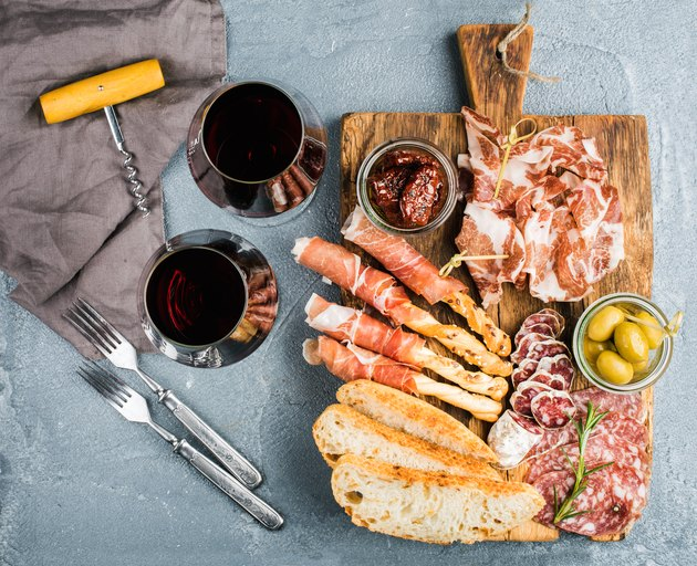 Cheese and meat appetizer selection or wine snack set. Variety