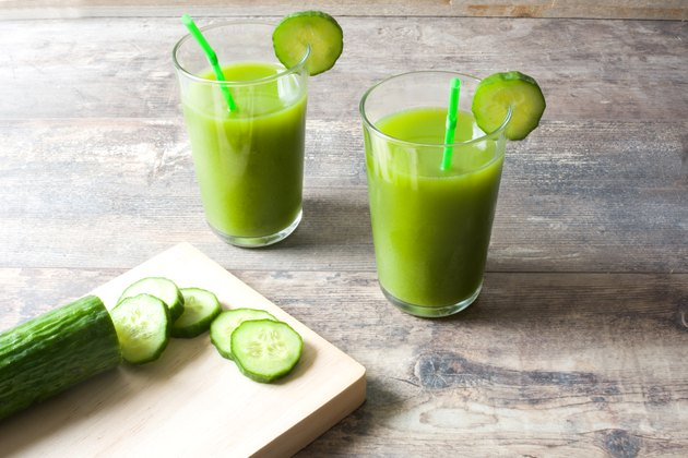 Cucumber juice nutrition glasses
