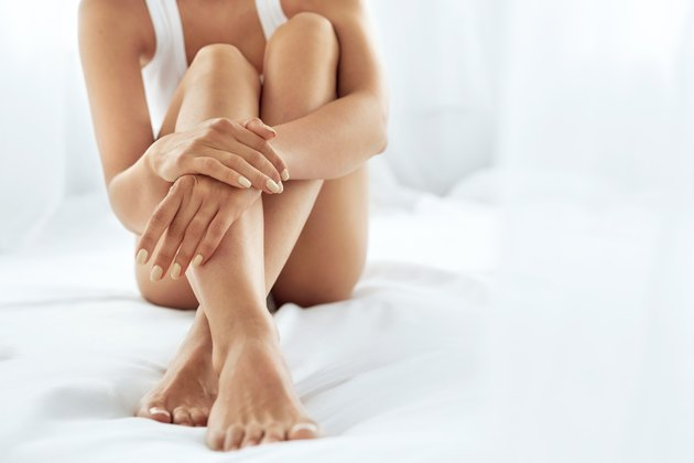Woman Body Care. Close Up Of Long Legs.