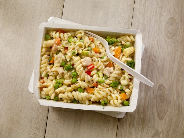 A packaged dinner of pasta primavera similar to a Jenny Craig meal option