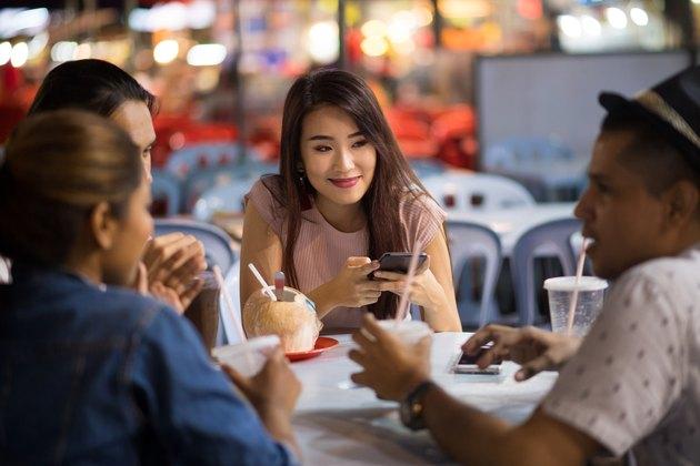 Friends enjoying a local night market