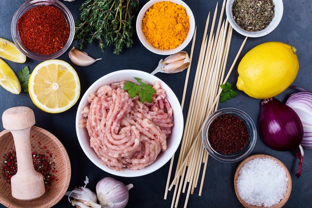 Ingredients for healthy meal, minced chicken meat kebab preparation