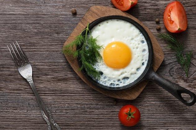 Fried eggs in a frying pan. Food. Breakfast. Healthy food.