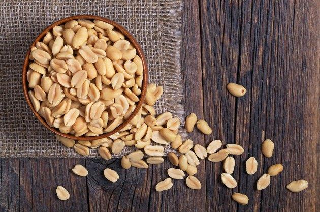 Halves of roasted peanuts