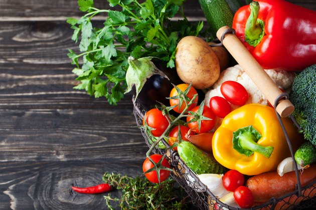 Basket with assortment of fresh vegetables