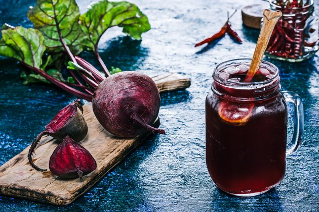 Homemade beet kvass in a glass jar