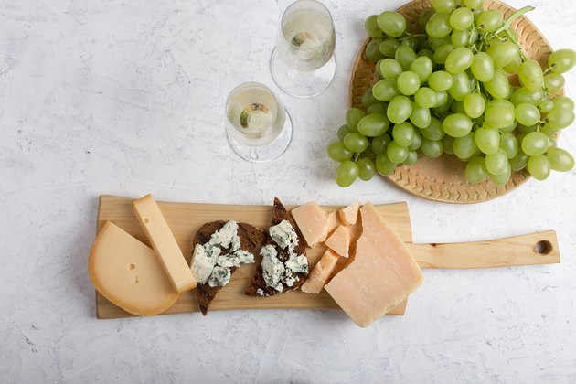 Grapes, wine and cheese platter