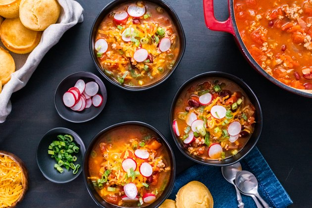 Turkey chili garnished with fresh radishes winter recipes