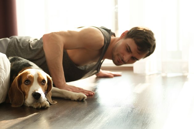 Man doing push-ups at home in his bedroom with his dog