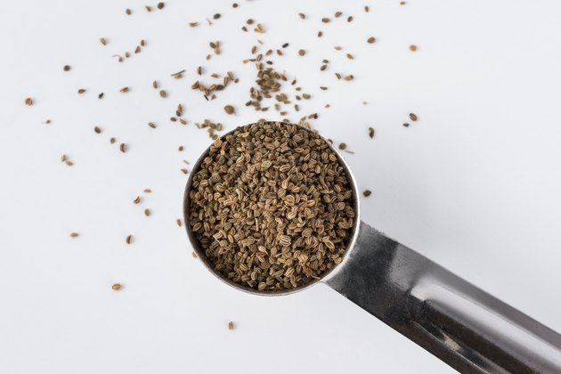 Celery seeds in a measuring spoon.